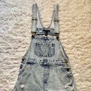 Forever 21 Denim Overall Shorts